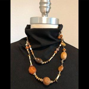 Jewelry - Wood & Tigers Eye Beaded Necklace